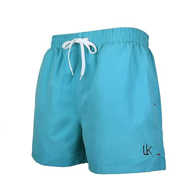 LK B.Hose Bañador Hombre Pantalones de Playa con Forro con Cordón Traje de Baño Pantalón Ceñido