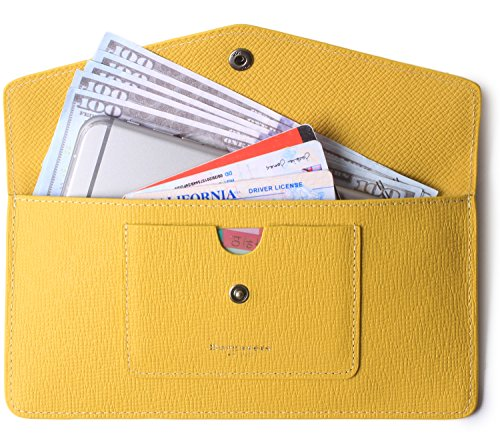 Women's Wallet Leather RFID Ultra-thin Envelope Ladies Purse Travel Clutch (Crosshatch Yellow) by Borgasets