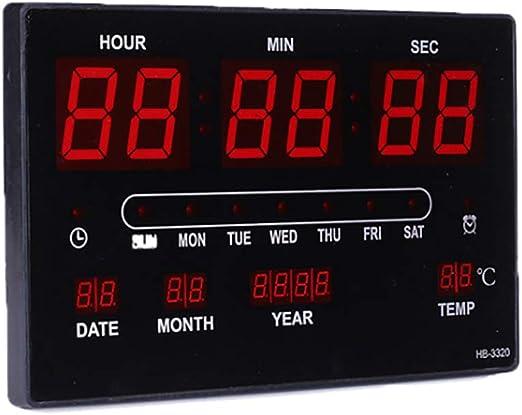 Super Brillante Reloj Digital Pared Reloj Grande De La Pared del LED con Múltiples Alarmas Calendario Temperatura Luz De Noche Cuenta Regresiva Controlador Remoto Mesa: Amazon.es: Hogar
