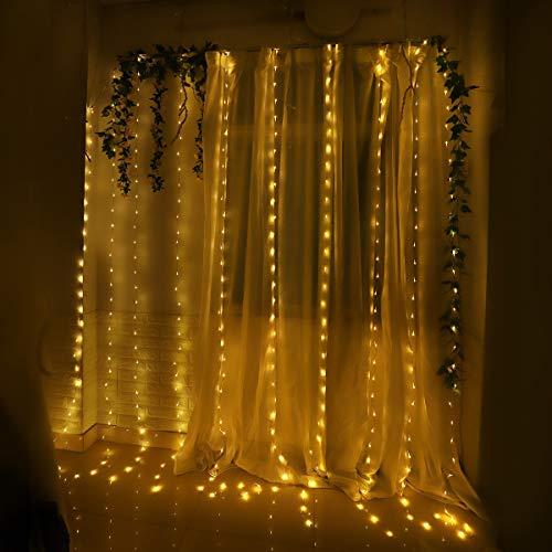 6e6b77f990b Yasolote Cortina de Luces LED Guirnalda Luces Decorativas 3x3m 300 LED  Luces de Navidad Cortina Luces con Adaptador para Decoración de Ventana