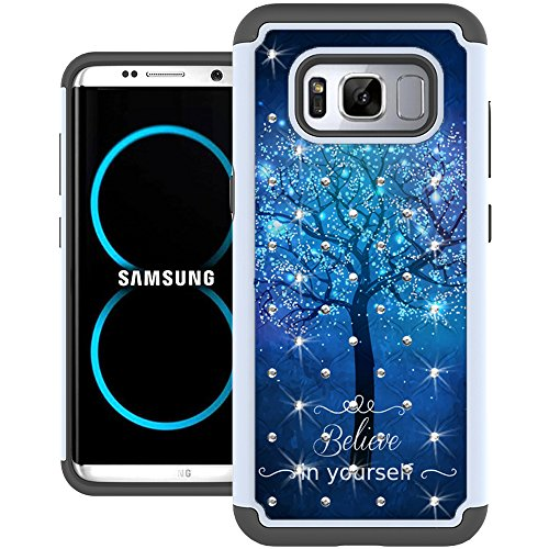 Galaxy S8 Case, UrSpeedtekLive [Shock Absorpt] Studded Rhinestone Bling Hybrid Dual Layer Armor Defender Protective Case Cover for Samsung Galaxy S8 - Galaxy Tree