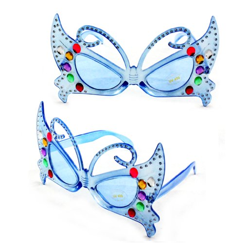 Fun and Funky 2033DDBUBU Sexy Butterfly Fashion Sunglasses Blue Frame Blue - Sunglasses And Chanel