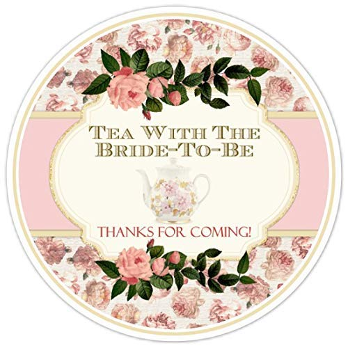 36 Tea With Bride to Be Labels Pink Roses 2.5 - Personalized Tea Roses