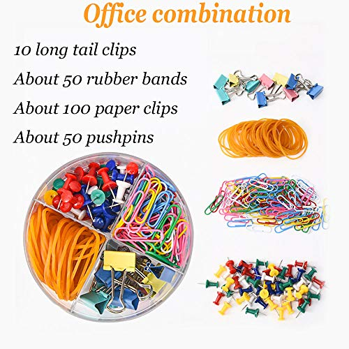 Binder Clips/Push Pins/Paper Clips/Rubber Band Set Multipurpose Office Supplies Stationery Set