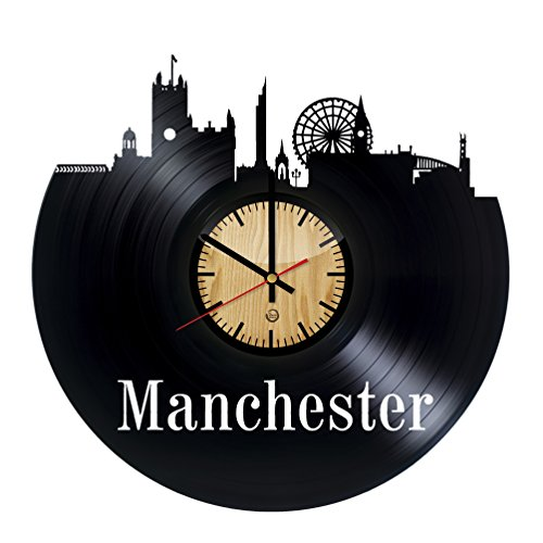 Manchester Record Wall Clock - Get unique of living room wall decor - Gift ideas for girls and boys – City Unique Art - Stores Airport Manchester