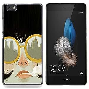 Stuss Case / Funda Carcasa protectora - Fumar Ciudad gafas de sol de moda - Huawei Ascend P8 Lite (Not for Normal P8)