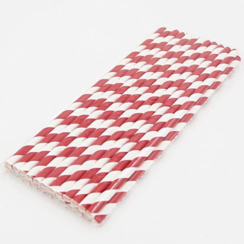 BranXin(TM) New 25pcs/lot Striped Paper Straws for Christmas Birthday Wedding Decorative Party Event Supplies Creative Drinking Straws[ Burgundy ]