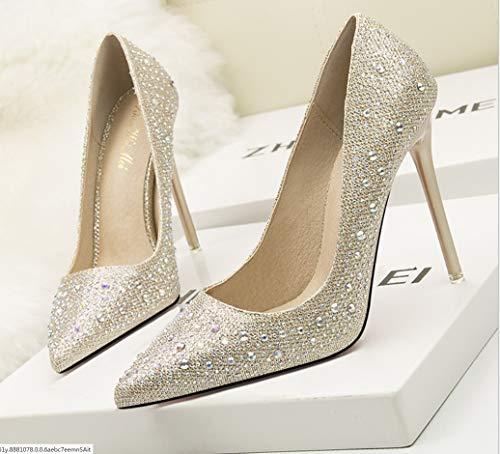 Punta Oro Diamante Novia Liangxie Honor Elegante Y Bajo Tacón De Alto Damas Delicado Moda Diamantes Fina Zapatos vwfaCwWxUq