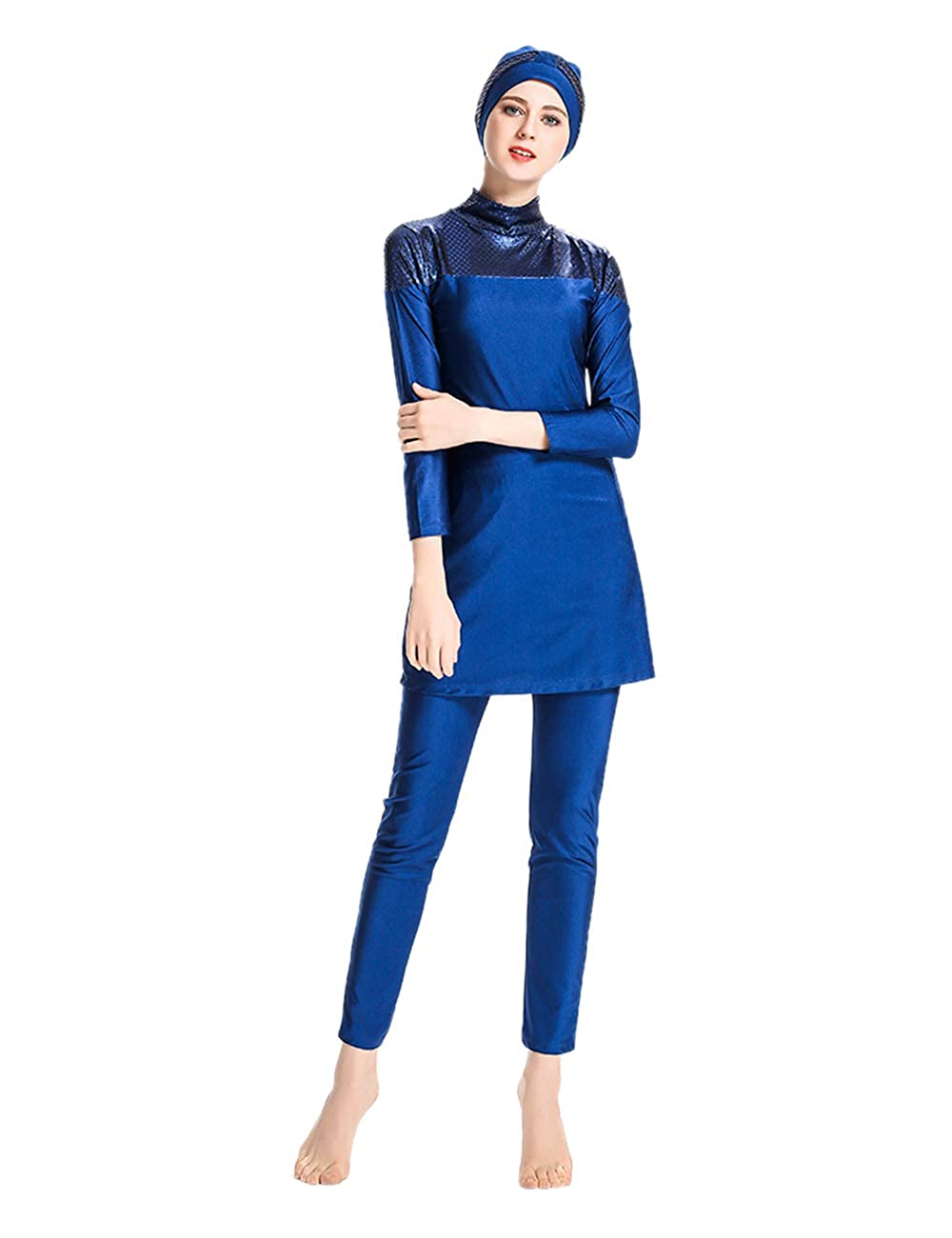 e6aaa87d491a besbomig Muslim Swimwear Women's Full Length Swimsuit - Modest Swimsuit  Beachwear Islamic Burkini with Hijab Ladies Swimming Costume 3pcs Surfing  Suit: ...