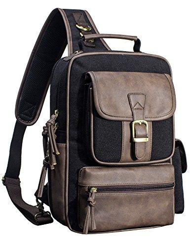 H Hikker-Link Canvas Messenger Bag for Men Laptop Sling Backpack Black with PU