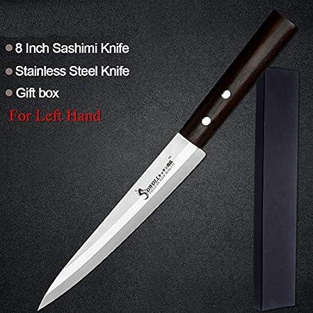 Acero inoxidable mano izquierda cuchillo de pescado estilo japonés estilo sushi carne afilada cuchilla color madera mango de madera cuchillo conjunto cuchillo cuchillos cuchillos sets block cuchillos
