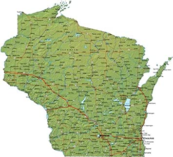 Amazon.com: WISCONSIN STATE ROAD MAP GLOSSY POSTER PICTURE PHOTO ...