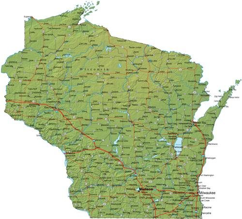 WISCONSIN STATE ROAD MAP GLOSSY POSTER PICTURE PHOTO milwauk