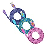 iPhone 7 Lightning Cable, [3 Pack, 6FT] Top Speed Braided 8-Pin Lightning to USB Cord Lightning Cable Charger Sync & Charge for iPhone 7 / 7 Plus, 6S / 6S Plus - Blue Pink Purple