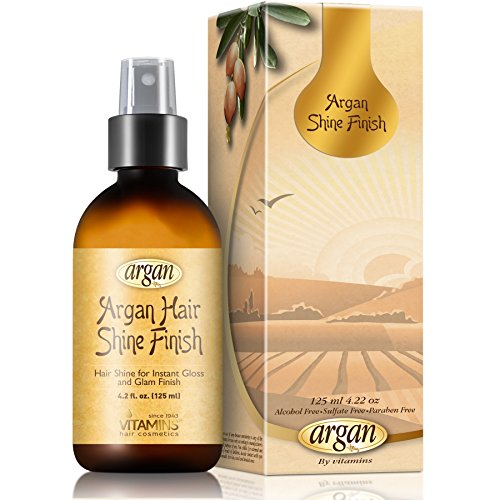 Hair Shine Gloss Argan Spray - Combo Size 4.25 oz Moroccan Oil Serum for All Hair Types - Nourishes and Promotes Instant Glam Shiny Appearance & Silky Glaze - Finish Gray Mist