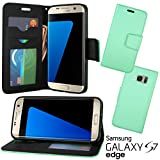 Galaxy S7 Edge Case, CellJoy [Wallet Hybrid] Samsung G935 Slim Fit Folio **Kickstand** [Folding Wallet Credit Card Slot / ID Slot] - PU Leather Wallet Case (Brushed Teal)