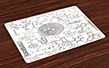 Lunarable Science Place Mats, Science Theme Hand Drawn Style Chemistry Laboratory School Classroom Illustration, Washable Placemats for Dining Room Kitchen Table Decoration, Umber White