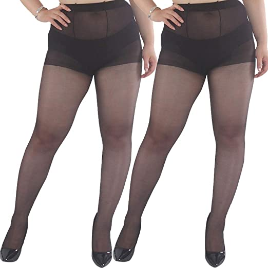 4b670d838 Amazon.com  Women s Plus Size Pantyhose Tights 2-Pairs Support ...