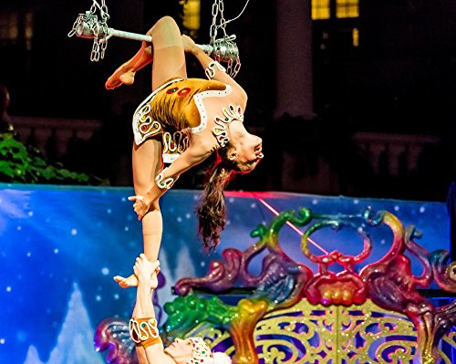 LAMINATED 30x24 Poster: Acrobats Cirque Du Soleil Christmas Show Gaylord Palms Orlando Florida Trapeze Costumes Show Holiday Show Happy Portrait Smile Caucasian People Person Xmas Woman (Orlando Costumes)
