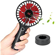 Skyreat Portable Mini Personal Battery Handheld Fan with LCD Dispaly Design,Rechargeable USB 2500mAh Battery Operated hand fan Strong Wind for Travel Home and Office