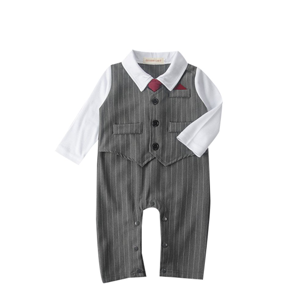 Toddler Long Sleeve Striped Rompers Infant Outfit Onesie with Bow tie Formal Wear KiKibaby Baby Boy Suit