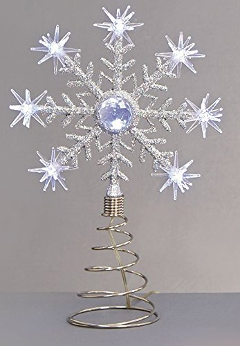 Christmas Light Up Battery Operated Christmas Tree Topper Star Snowflake 8 LED