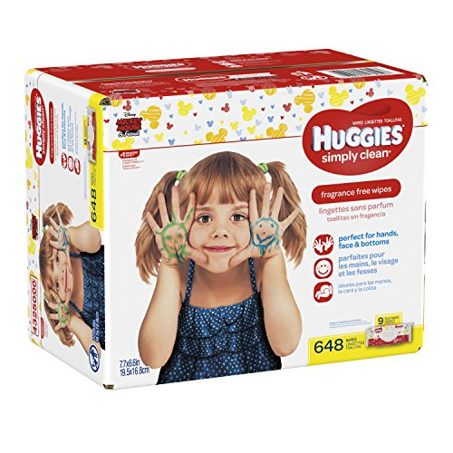 Large Product Image of HUGGIES Simply Clean Fragrance Free Baby Wipes, Pack of 9 Soft Packs (72 Wipes per Pack, 648 Count Total), Alcohol and Paraben Free