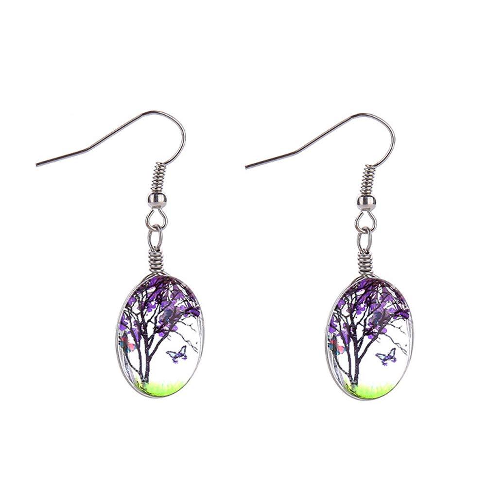Tree of Life Dried Pressed Real Flowers Teardrop Hook Glass Drop Earrings(purple)