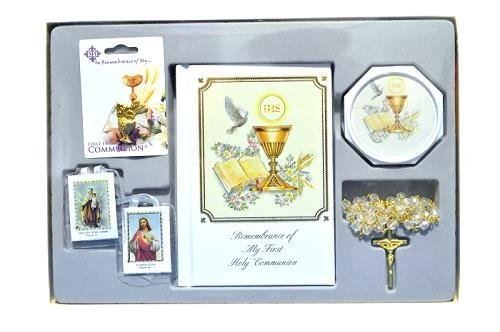 Angel Threads Boutique Holy First Communion Gift set 5 Piece ENGLISH for Boy or Girl
