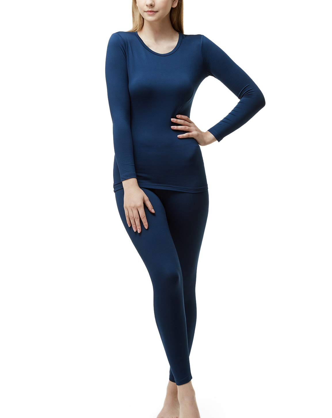 TSLA Blank Women's Top & Bottom Set w Microfiber, Thermal Set(whs200) - Navy, Large by TSLA