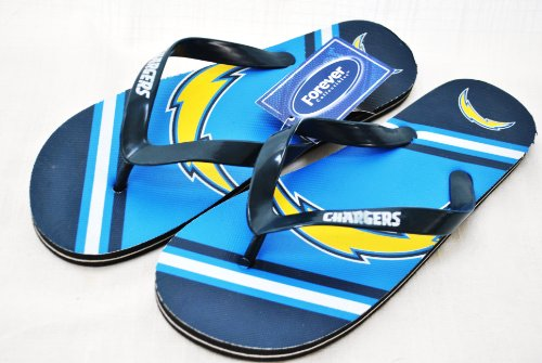 San Diego Chargers Official NFL Unisex Flip Flop Beach Shoes Sandals slippers size XS by FOREVER