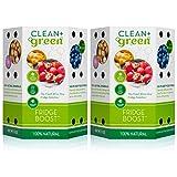 Clean+Green Fridge Boost Refrigerator Food Preserver and Deodorizer Odor Absorber - Keeps Food Fresh Longer (2-Pack)