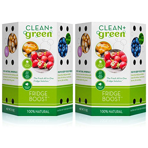 Clean+Green Fridge Boost Refrigerator Food Preserver and Deodorizer Odor Absorber - Keeps Food Fresh Longer (2-Pack) by Clean+Green