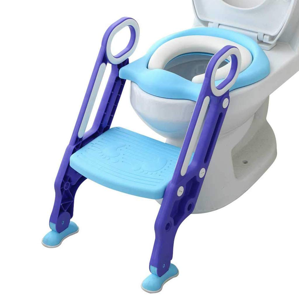 Dinlong Safe Portable Potty Chair Baby Child Potty Toilet Trainer Seat with Step Stool Ladder Adjustable Training Chair (Blue)