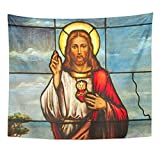 VaryHome Tapestry Christ Stained Glass Window Depicting Sacred Heart of Jesus Christian Messiah Home Decor Wall Hanging for Living Room Bedroom Dorm 50x60 Inches