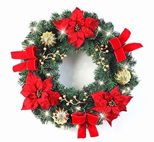 Warren&Winsley Sale Prelit Cordless LED Festive Poinsettia Wreath (24