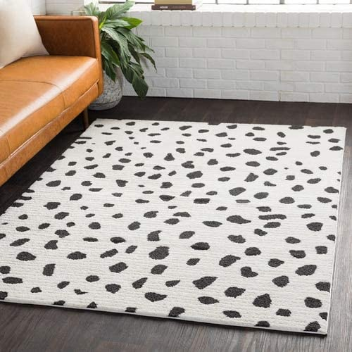 Tariffville Dalmatian Black White 7'10″ x 10'3″ Area Rug