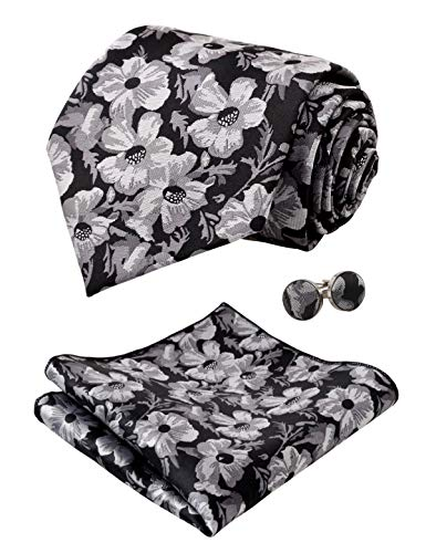 Alizeal Mens Floral Pattern Tie, Hanky and Cufflinks Set, Black+White - Pattern Polyester Ties