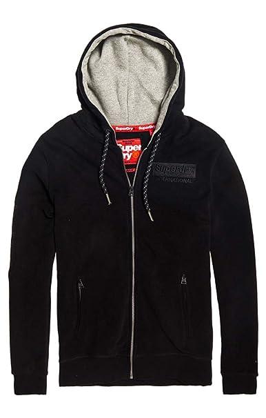 Superdry Men's International Monochrome Zip Hoodie, Black at