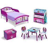 Frozen Bedroom Decor Toddler Kids Bed Disney Frozen Movie Princess Toy Chair Set Girls Toy Chest Storage