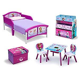 Frozen Bedroom Decor Toddler Kids Bed Disney Frozen Movie Princess Toy Chair Set Girls Toy Chest Storage