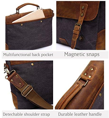Vaschy Messenger bag for men, Vintage Leather Canvas Satchel 14in Laptop Crossbody Shoulder Bag by Vaschy (Image #4)