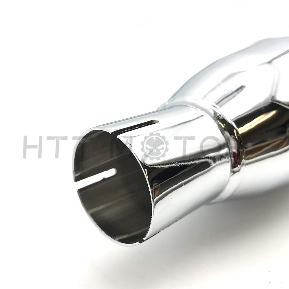 HTTMT EM04-4 Chrome Megaphone Slip-On Mufflers Exhaust Pipes Compatible with 95-16 Harley Touring