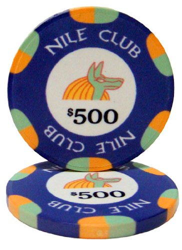 Nile Club Casino Grade Ceramic 10-gram Poker Chip – Pack of 50 -