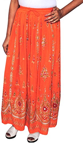 Womens Long Skirts Sequins Ankle Length Rayon Indian Clothing (Orange, One (Bell Skirt)