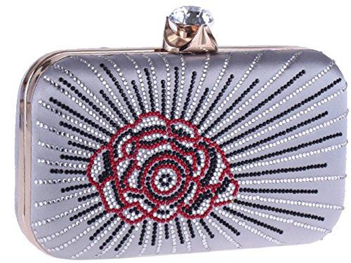 Bag Evening Clutch Silver Hot Drill Women Purse Flowers Bettyhome Girls Rhinestone Chain Elegant 8Znv7