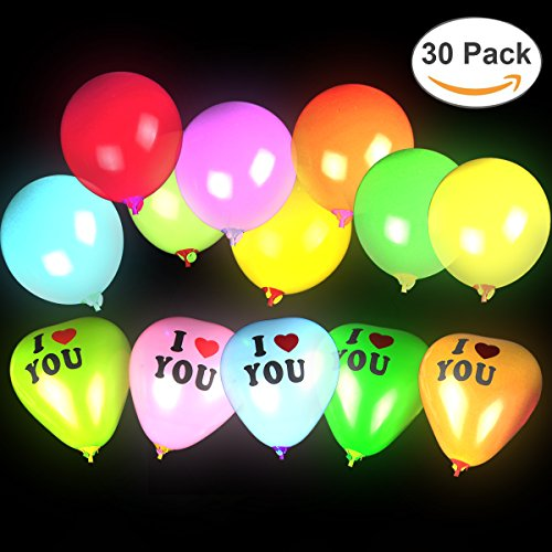 Ztacking LED Light Up Balloons, Premium Mixed-Colors Flashing Party Lights Lasts 12-24 Hours Ideal for Parties Birthdays and Wedding Decorations Fillable with Helium (Glowing Balloon)