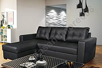 Tommy Corner Sofa Bed In Black Faux Leather Amazon Co Uk Kitchen