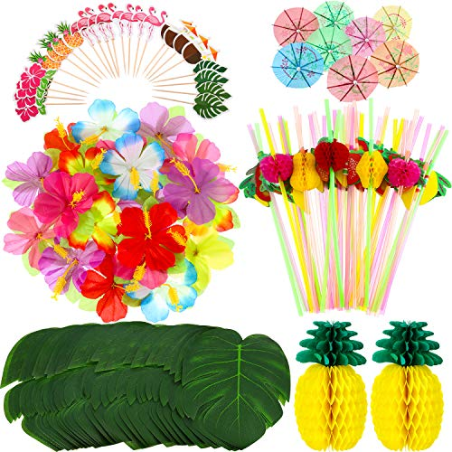 198 Pieces Hawaiian Party Decorations Set Including 2 Tissue Paper Pineapples 24 Tropical Palm Leaves 24 Hibiscus Flowers 48 Flamingo Cupcake Toppers 50 Colorful Umbrella and 50 3D Fruit Straws ()