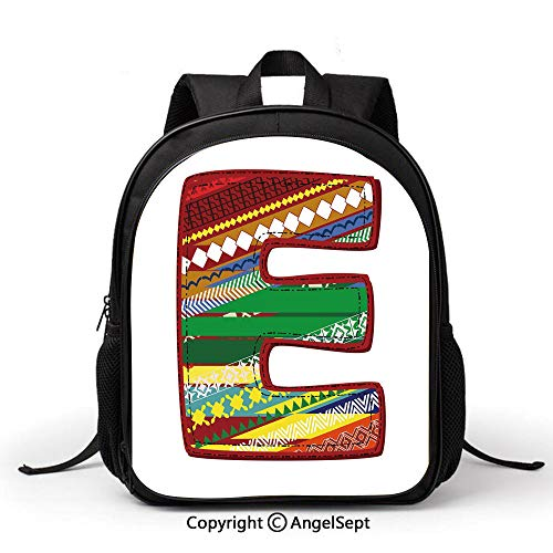 Lightweight Water Resistant Preschool Rucksack Vintage Style Letter from Alphabet Multicolored Art Design Winter Inspired Image DecorativeMulticolor Little Boys and Girls with Water Bottle Pockets